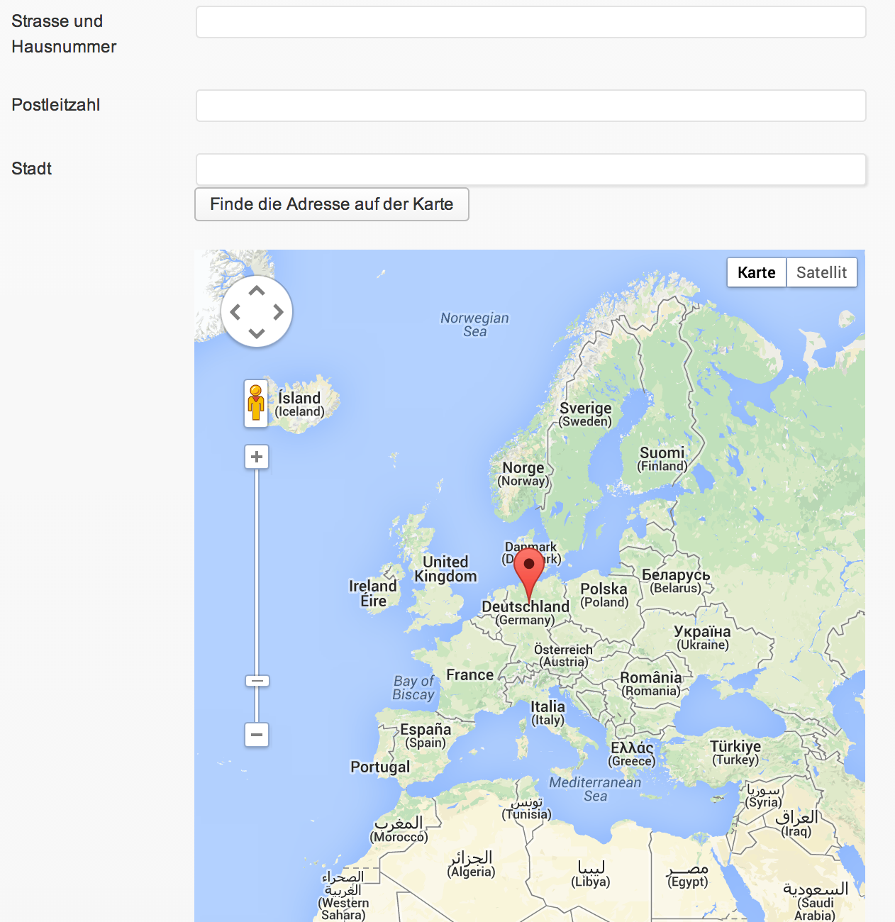 Adresse und Geolocation aktualisieren
